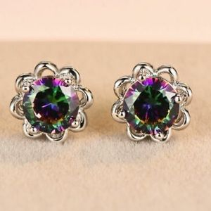 NEW 925 Sterling Silver Rainbow stone Earrings